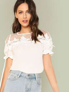Lace Applique Mesh Shoulder Top