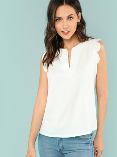 Scallop Trim Notch Neck Shell Top
