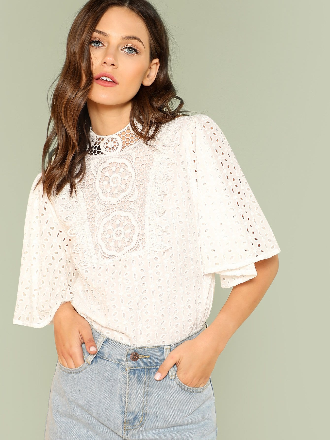 Lace Neck Eyelet Embroidered Top eyelet lace botanical print top