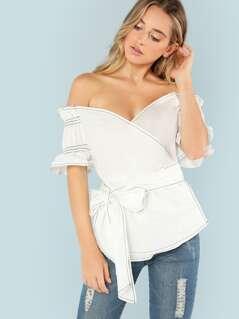 Ruffle Sleeve Plunging Bardot Neck Wrap Top
