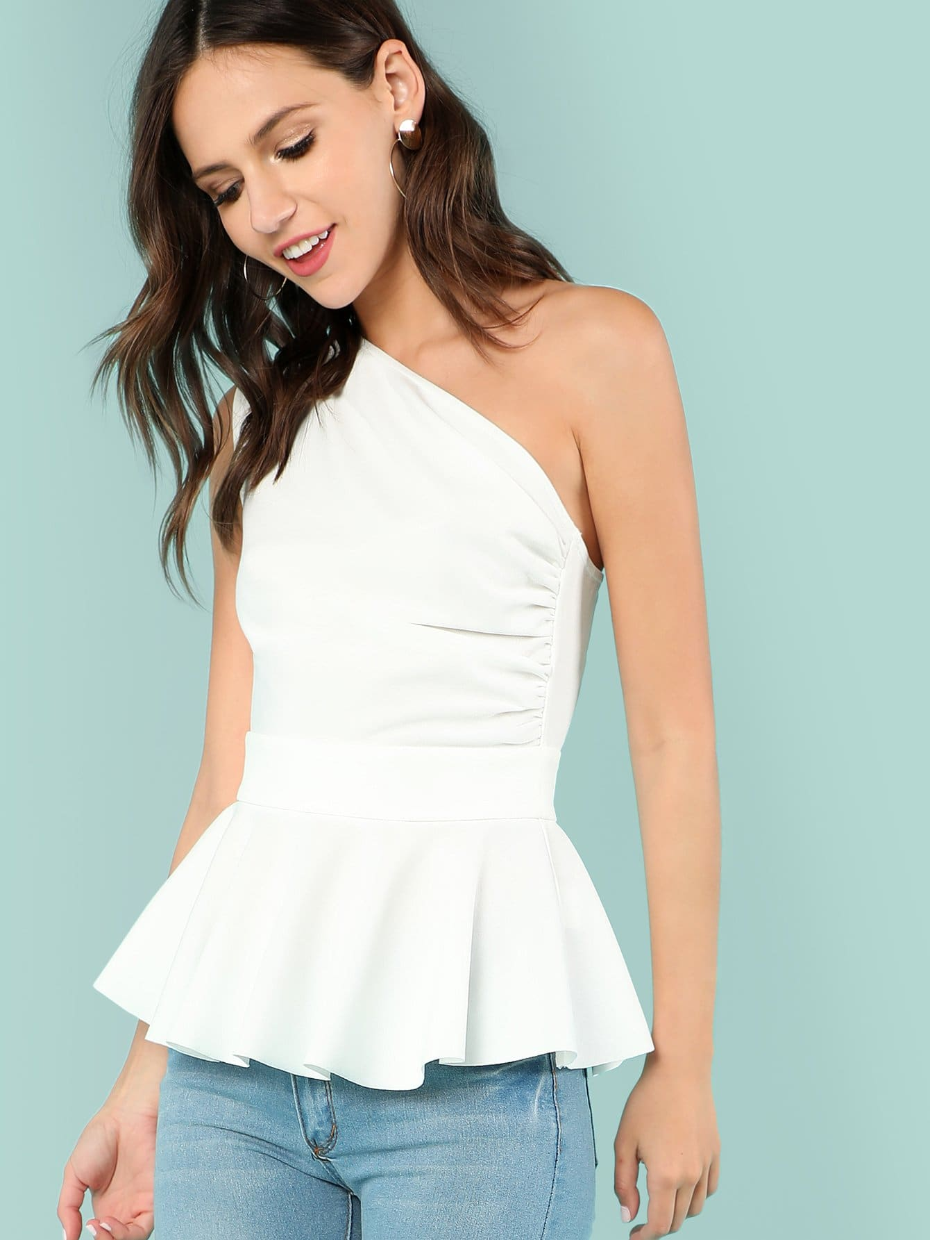 One Shoulder Peplum Top gingham one shoulder top