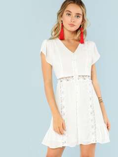 Tulip Sleeve Floral Lace Panel Button Up Dress