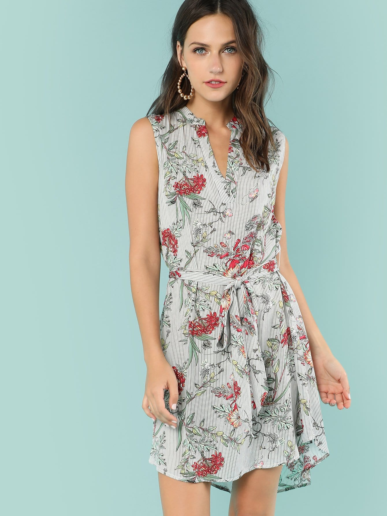 Mixed Print V Cut Neck Belted Dress mixed print plunging neck self belted dress