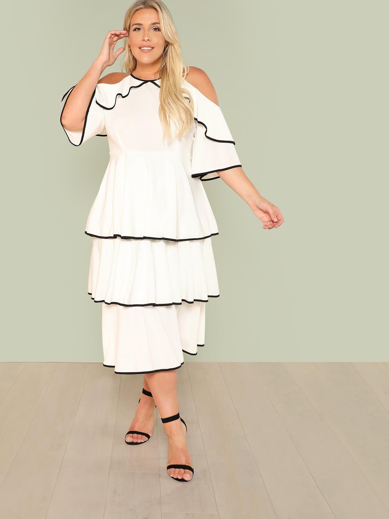 Plus Contrast Binding Cold Shoulder Layered Dress contrast halter and binding layered ruffle bodice jumpsuit