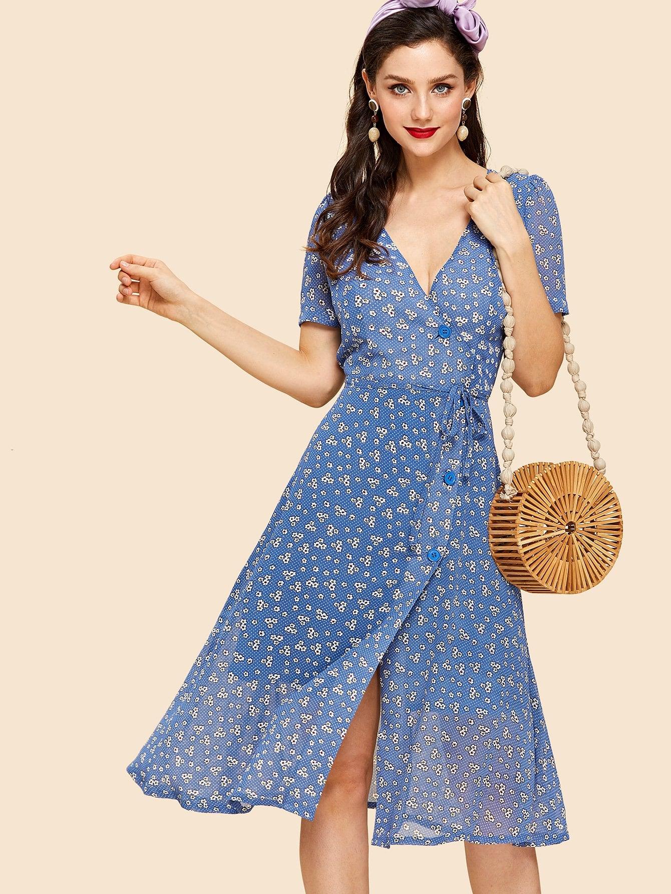 Купить Платье в цветочек с запахом и пуговицами, Julie H., SheIn