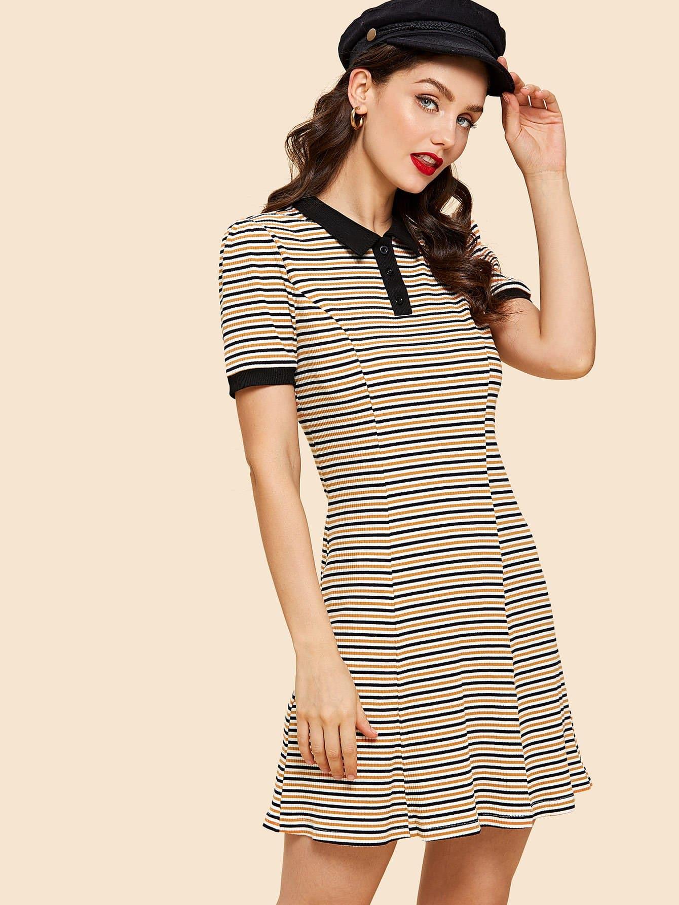 купить Rib Knit Striped Polo Dress в интернет-магазине