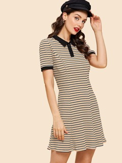 Rib Knit Striped Polo Dress