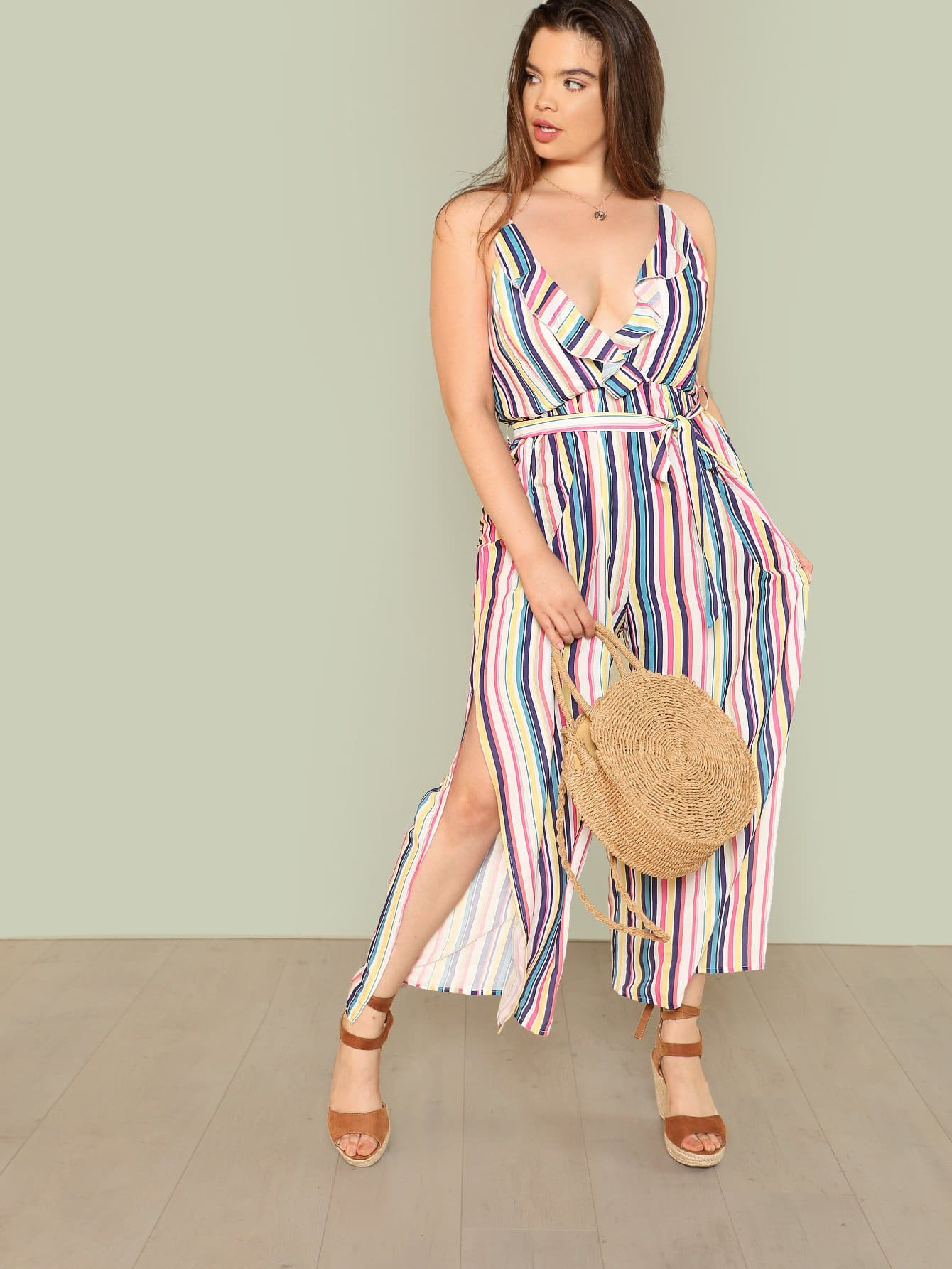 Tie Waist Wide Leg Striped Cami Jumpsuit shirred panel wide leg striped jumpsuit