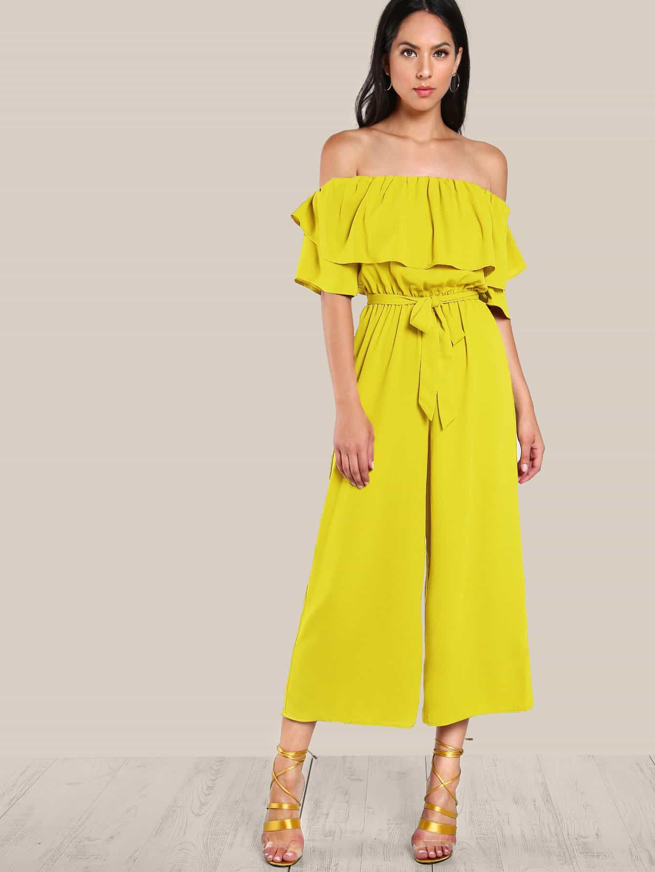 Flounce Off Shoulder Self Tie Culotte Jumpsuit tropical print flounce off shoulder wide leg jumpsuit