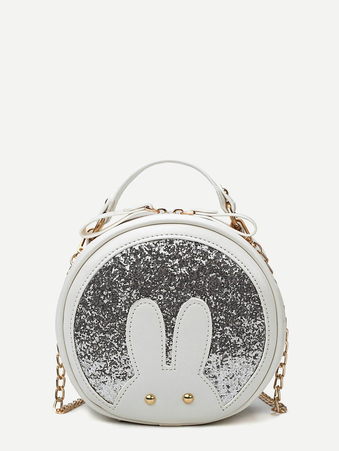 Glitter Round Crossbody Bag star detail glitter crossbody bag
