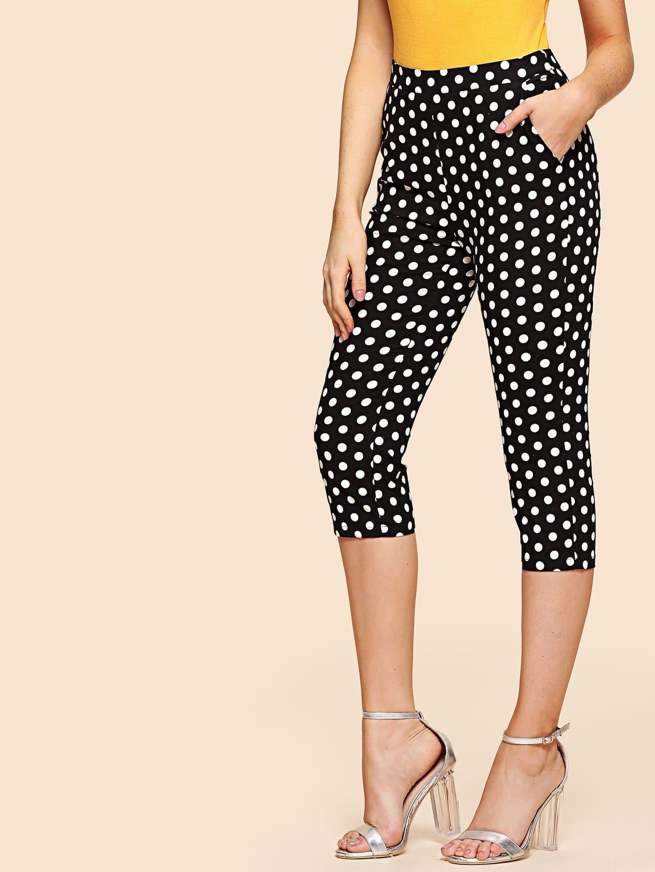 Polka Dot Print Capris Pants