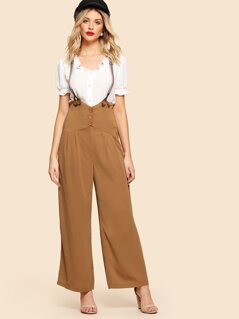 Button Up Wide Leg Pants With Striped Strap