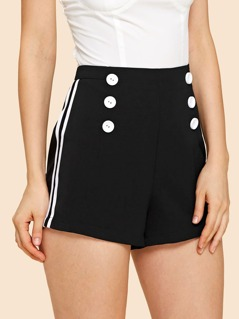 Double Button Zip Back Striped Shorts