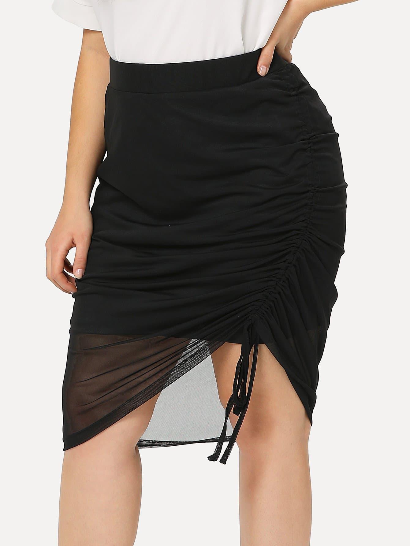 все цены на Mesh Hem Shirred Drawstring Detail Skirt