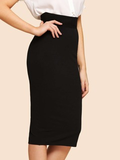 Zip Up Solid Bodycon Skirt
