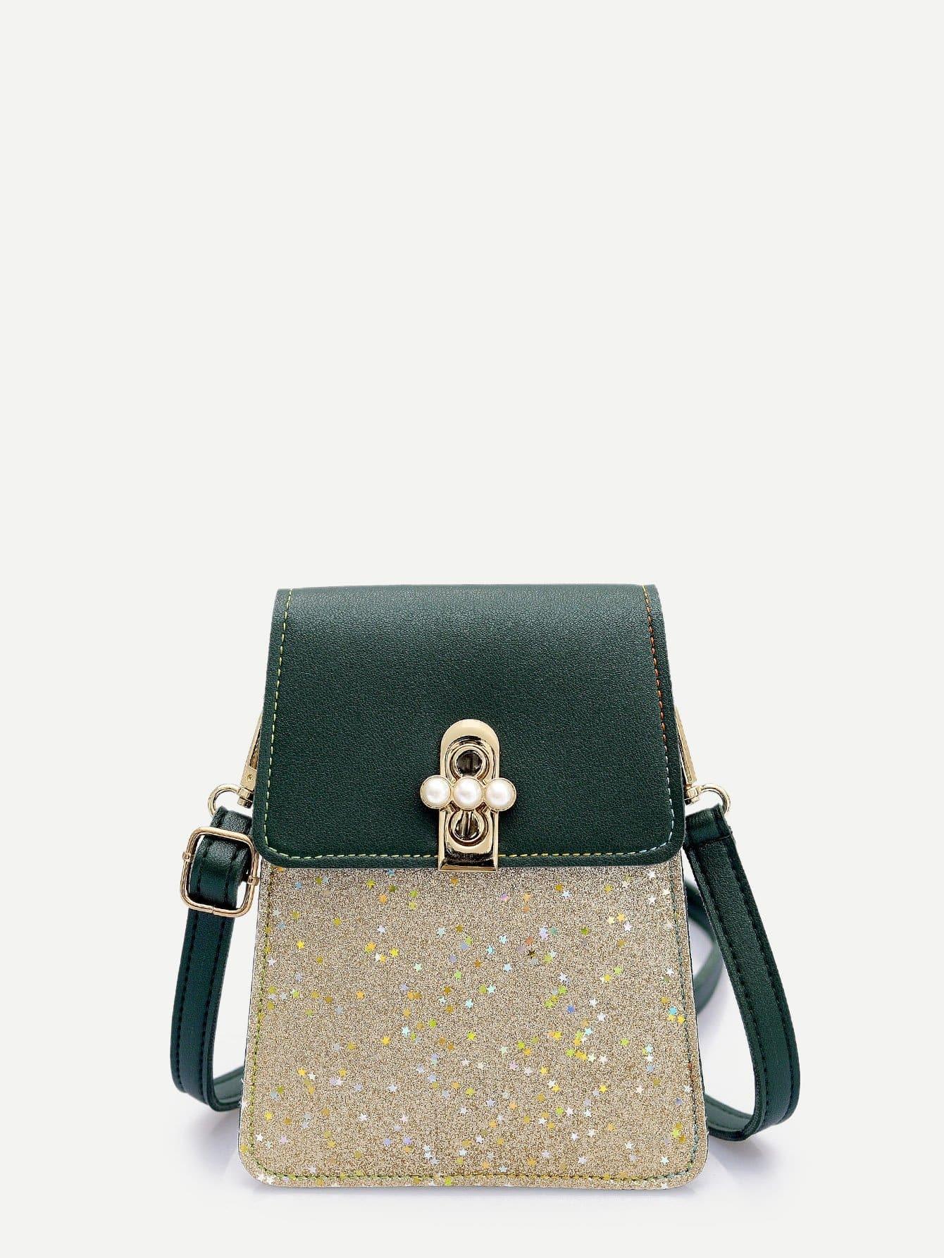 Glitter Panel Crossbody Bag star detail glitter crossbody bag
