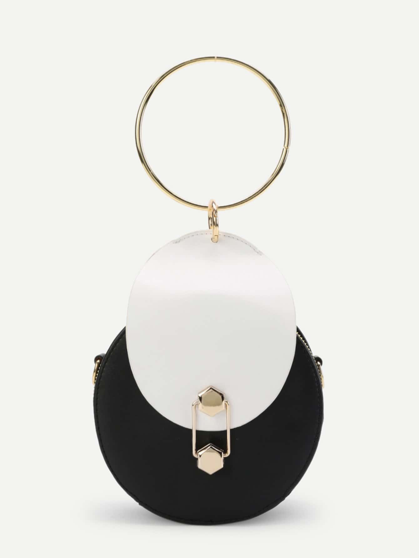 Ring Handle Two Tone Round Crossbody Bag two tone round drop earrings