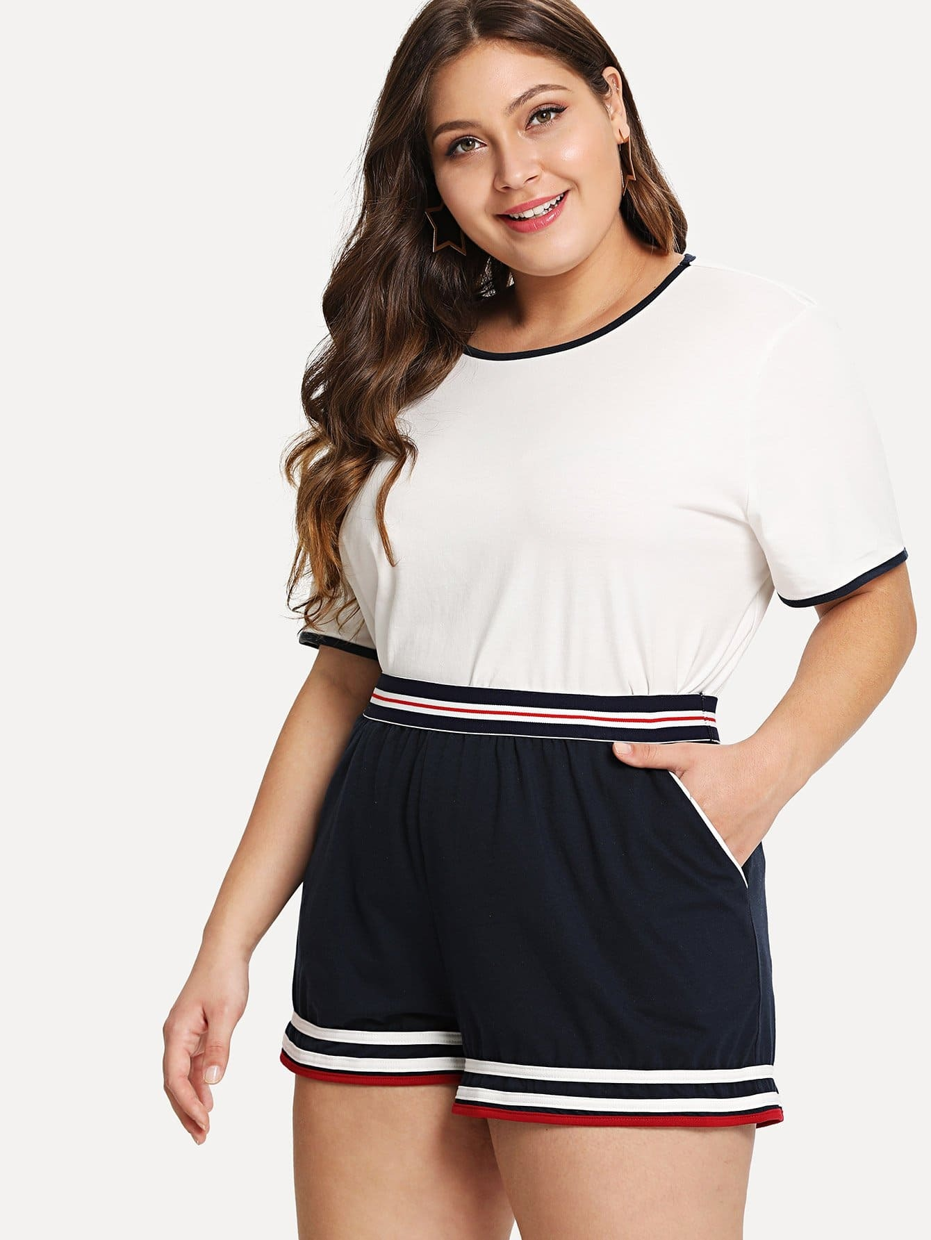 Ringer Tee With Striped Trim Shorts contrast trim ribbed tee with striped shorts