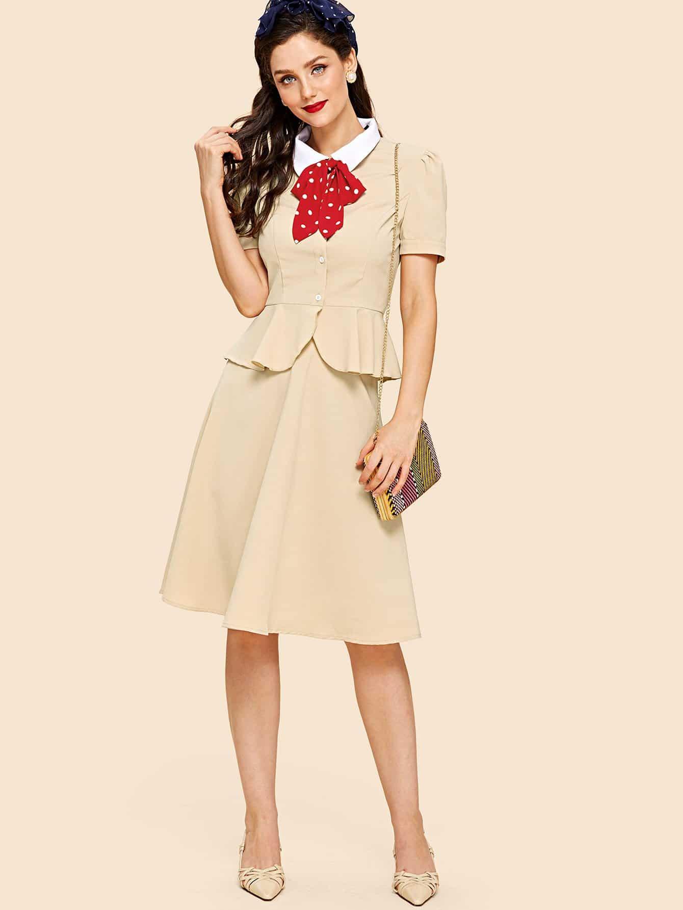 Купить Комплект контрастная рубашка и юбка, Julie H., SheIn