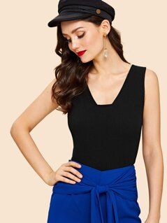 Plunge Neck Solid Top