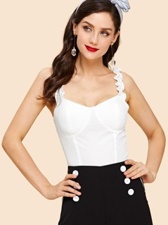 Ruffle Strap Shirred Back Bustier Top