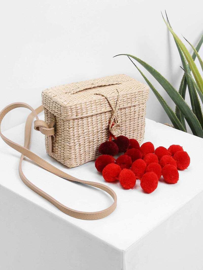 Pom Pom Decorated Straw Shoulder Bag, Beige