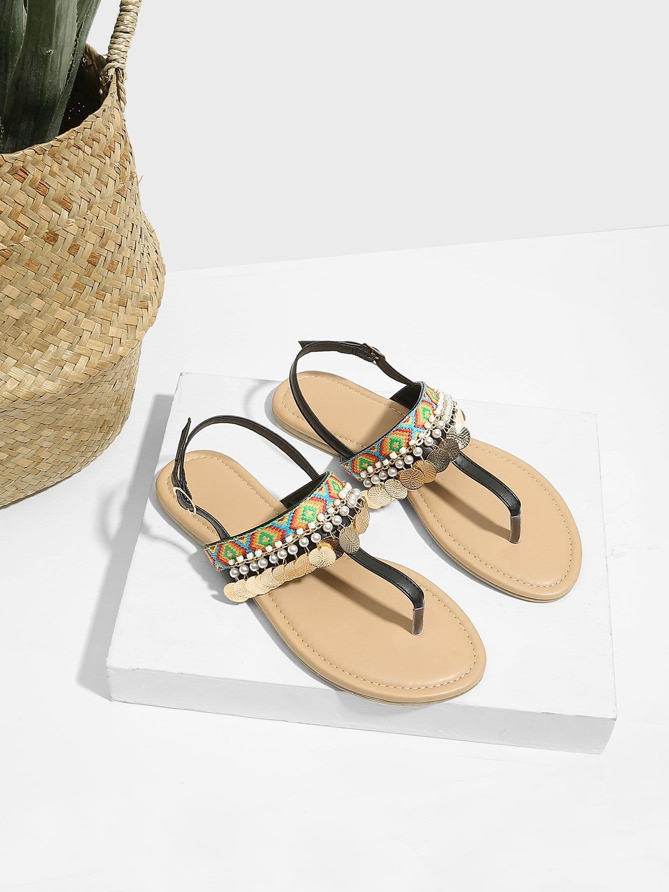 Flat Disc Toe Post Sandals rose decorated toe post flat sandals