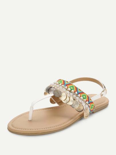 Romwe / Flat Disc Toe Post Sandals