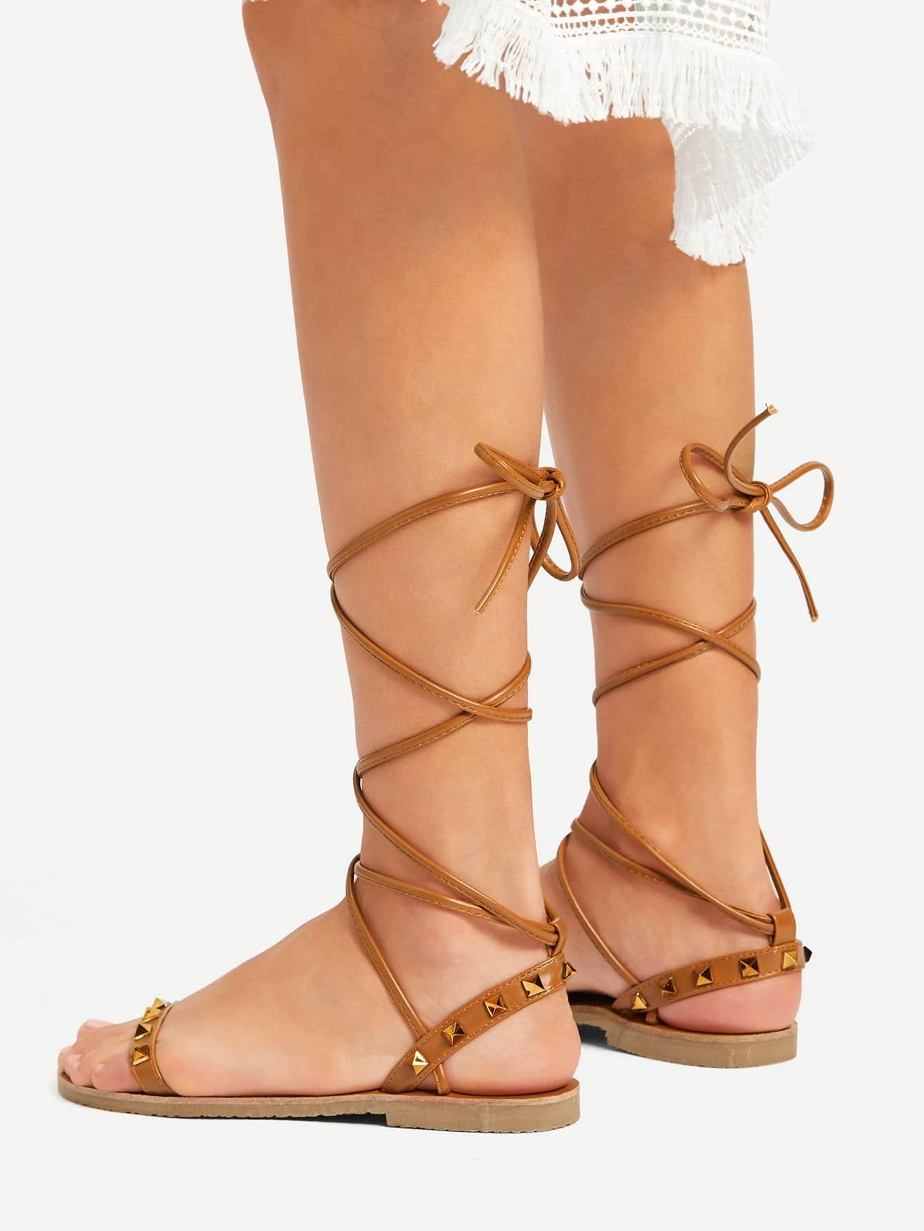 Studded Detail Tie Leg Flat Sandals pom pom detail tie leg flat sandals