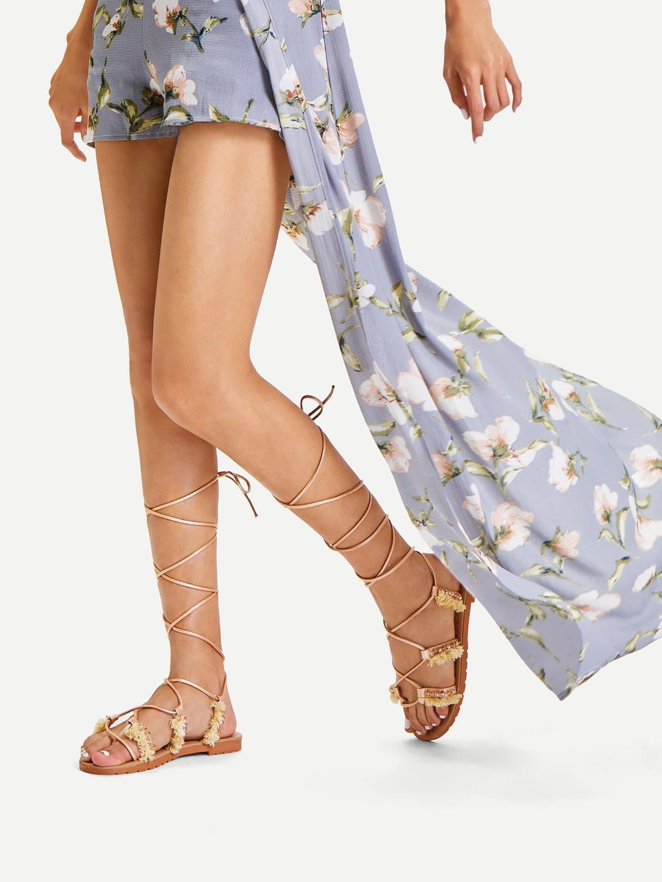 Fringe Detail Criss Cross PU Flat Sandals fringe detail beach sandals