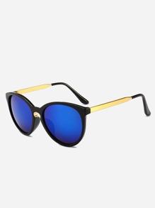 Contrast Frame Mirror Lens Sunglasses