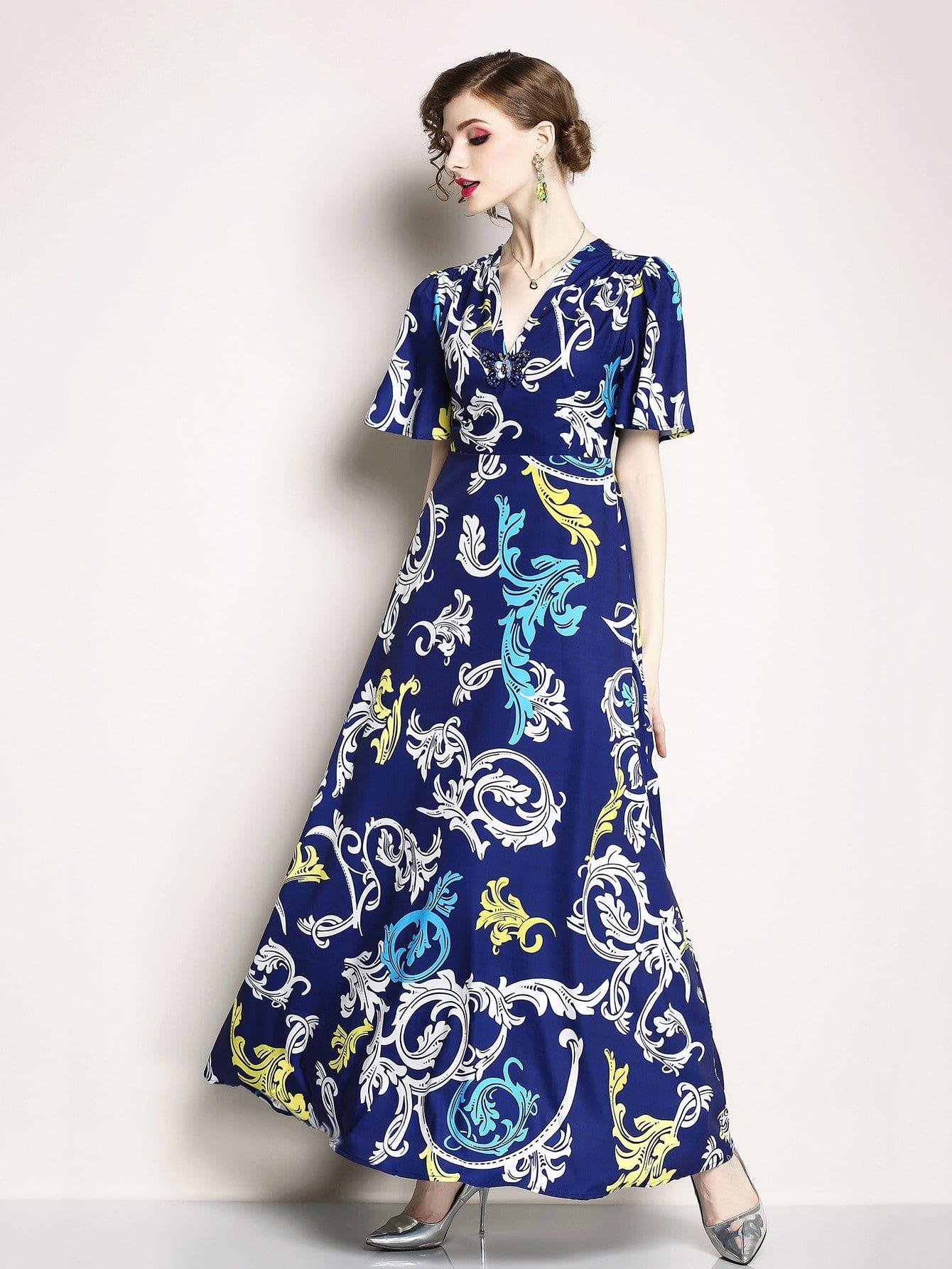 Купить Длинное платье с графикой и v воротником, null, SheIn