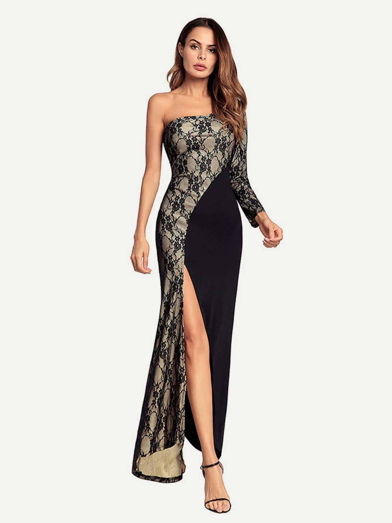 Split Side One Shoulder Lace Contrast Dress dark coffee side pockets one shoulder mini dress