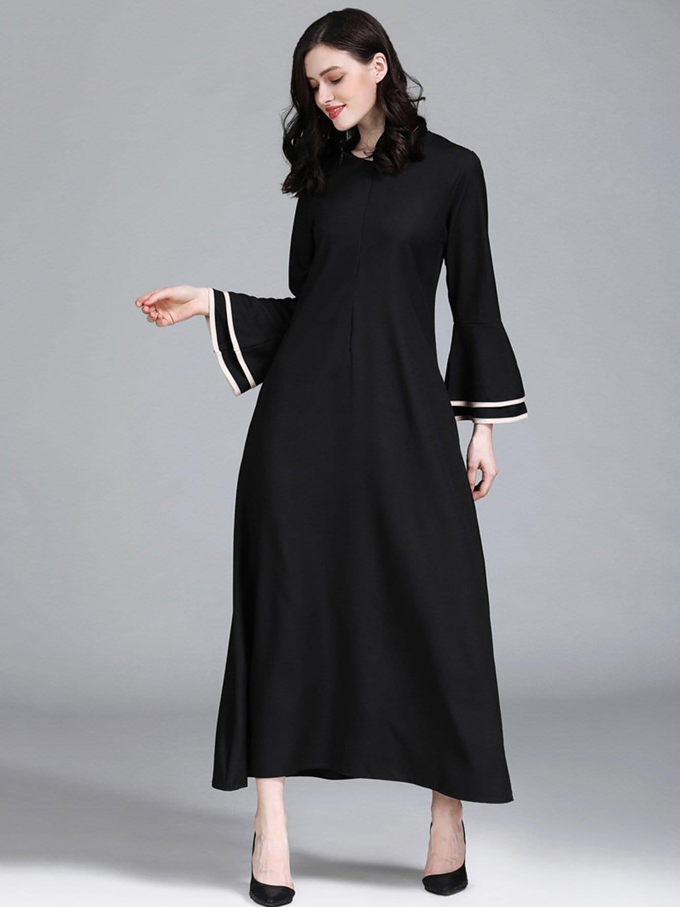 Купить Длинное платье с широкими рукавами и полосками, null, SheIn