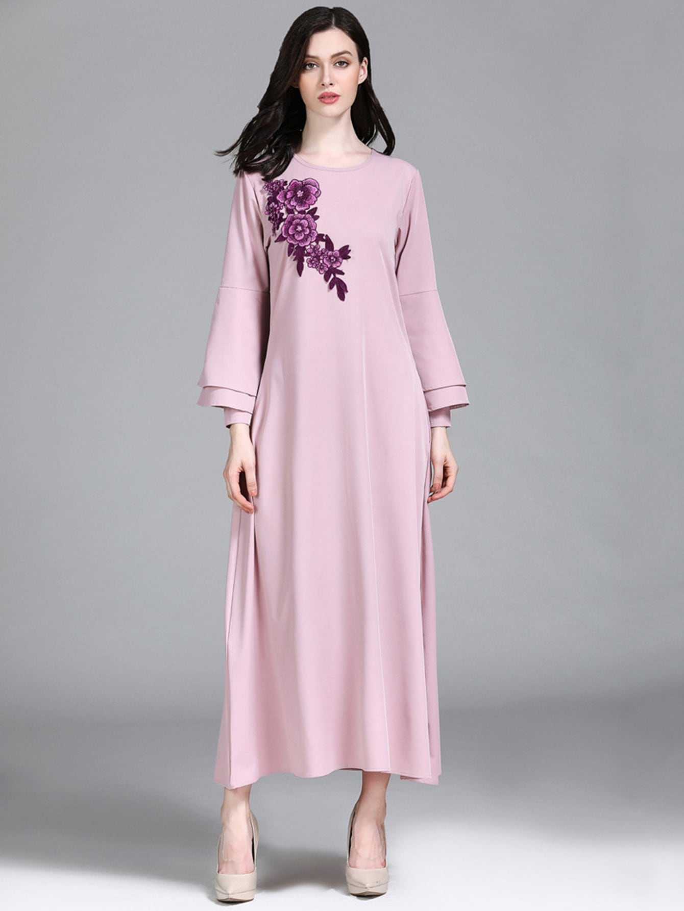Floral Embroidered Layered Sleeve Dress layered sleeve floral top