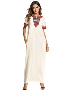 Geometric Print Contrast Longline Dress