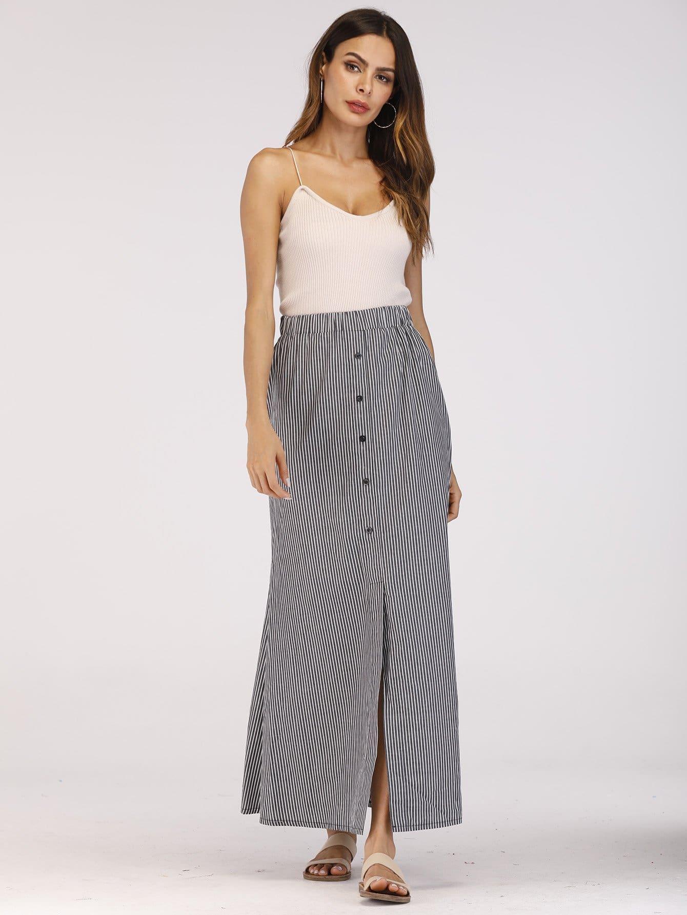 Split Front Button Stripe Skirt tribal print split front skirt