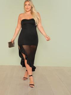 Plus Strapless Sheath Dress with Asymmetrical Mesh Hem Ruffle