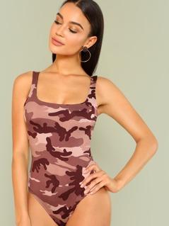 Camo Print Scoop Neckline Thong Bodysuit