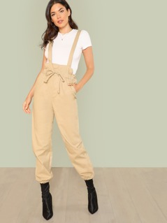Paper bag Suspender Pants