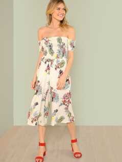 Floral Print Smocked Bardot Jumpsuit