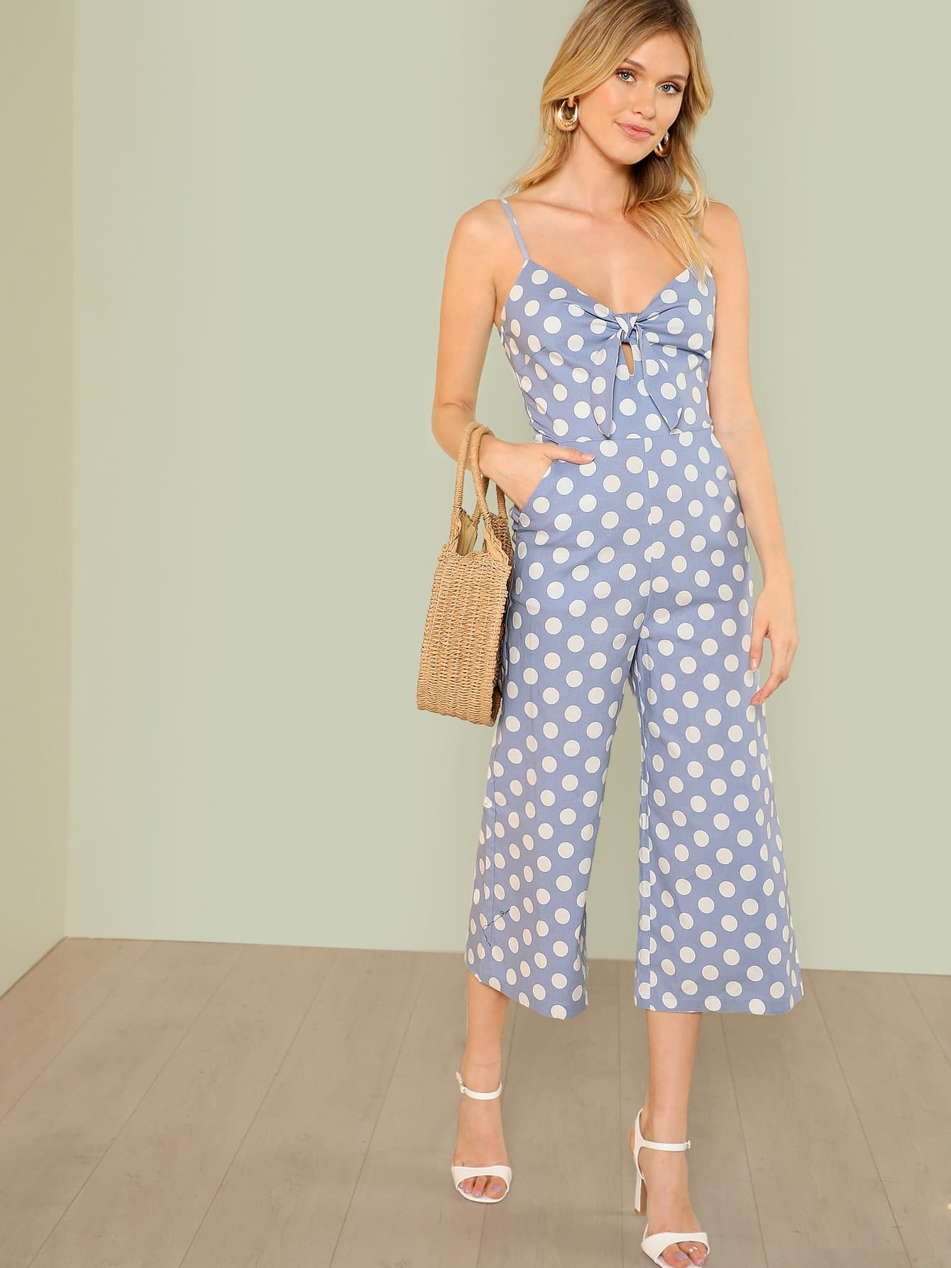 Cut Out Button Back Polka Dot Wide Leg Jumpsuit