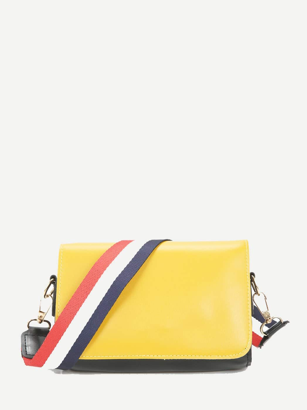 Two Tone Flap Shoulder Bag With Striped Strap drop crotch loose two tone pants