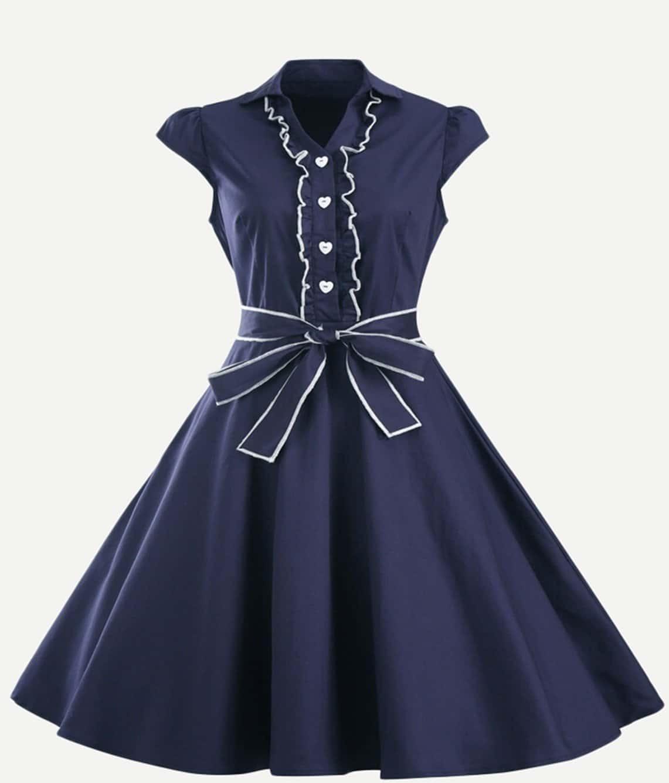 Frill Trim Knot Detail Dress pearl detail frill off shoulder dress