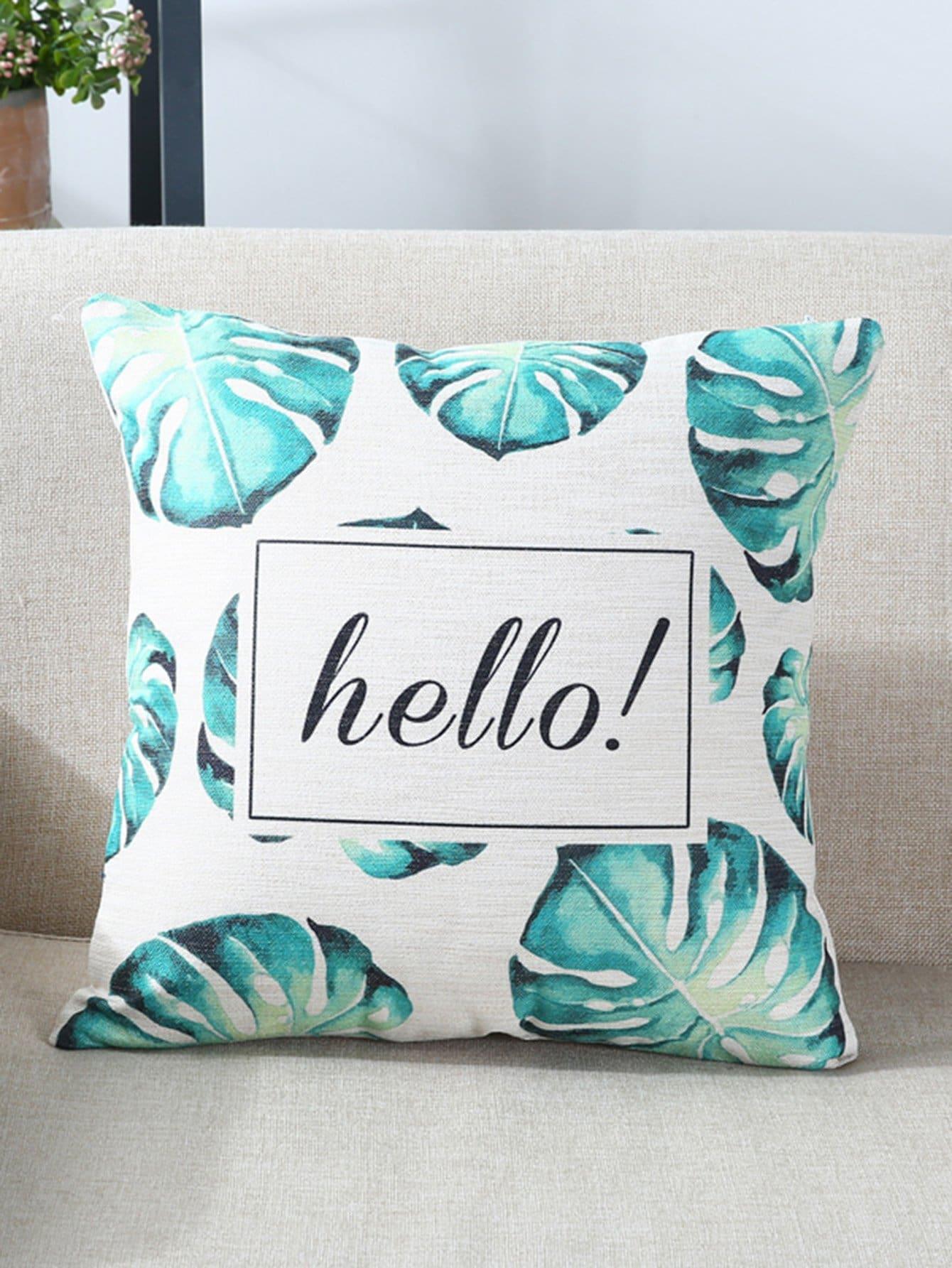 Leaf & Letter Print Pillow letter print pillow case