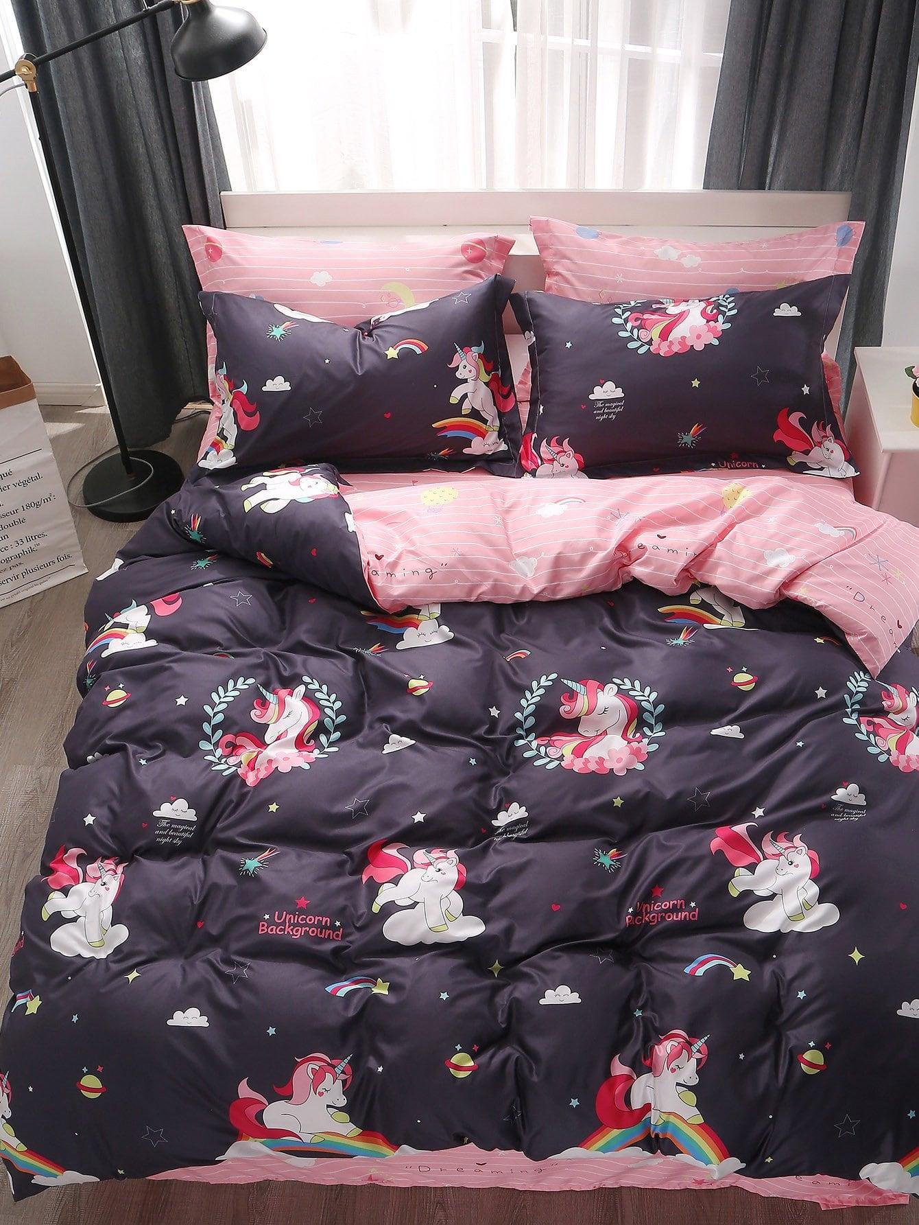 Купить Комплект постельного белья с полосками и мультики, null, SheIn