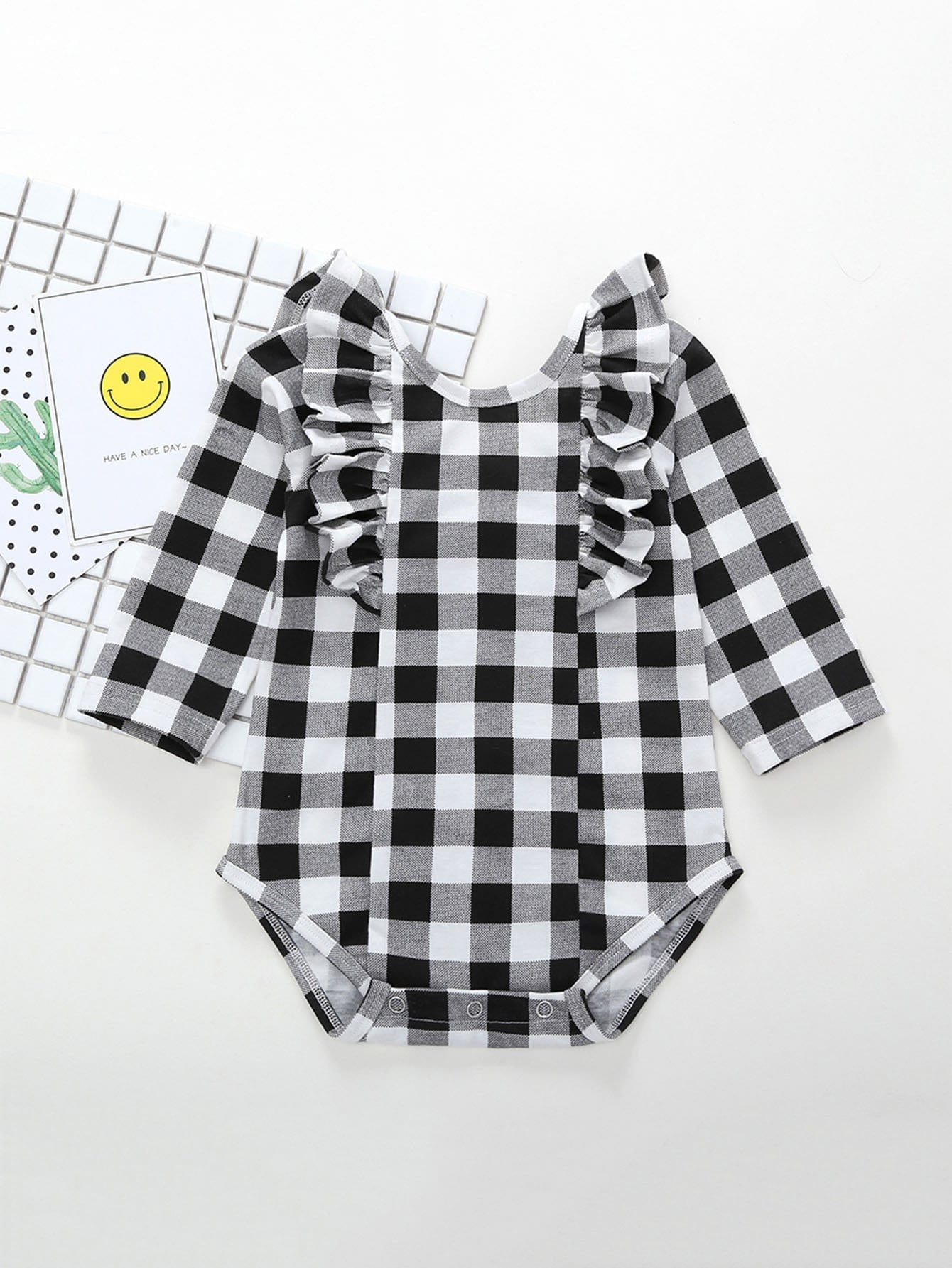 Kids Ruffle Trim Gingham Romper ruffle trim striped romper