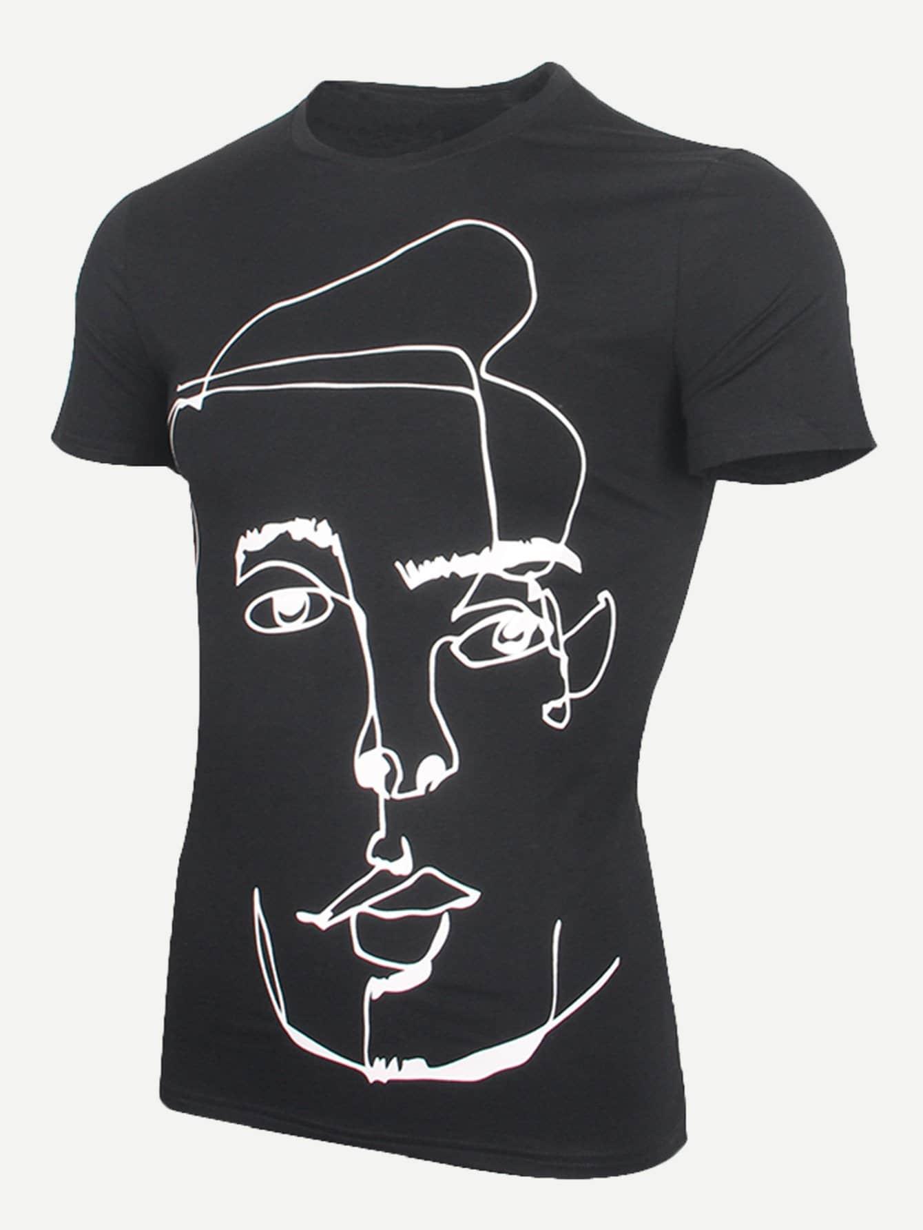 Men Abstract Figure Print Tee men abstract print plain vest