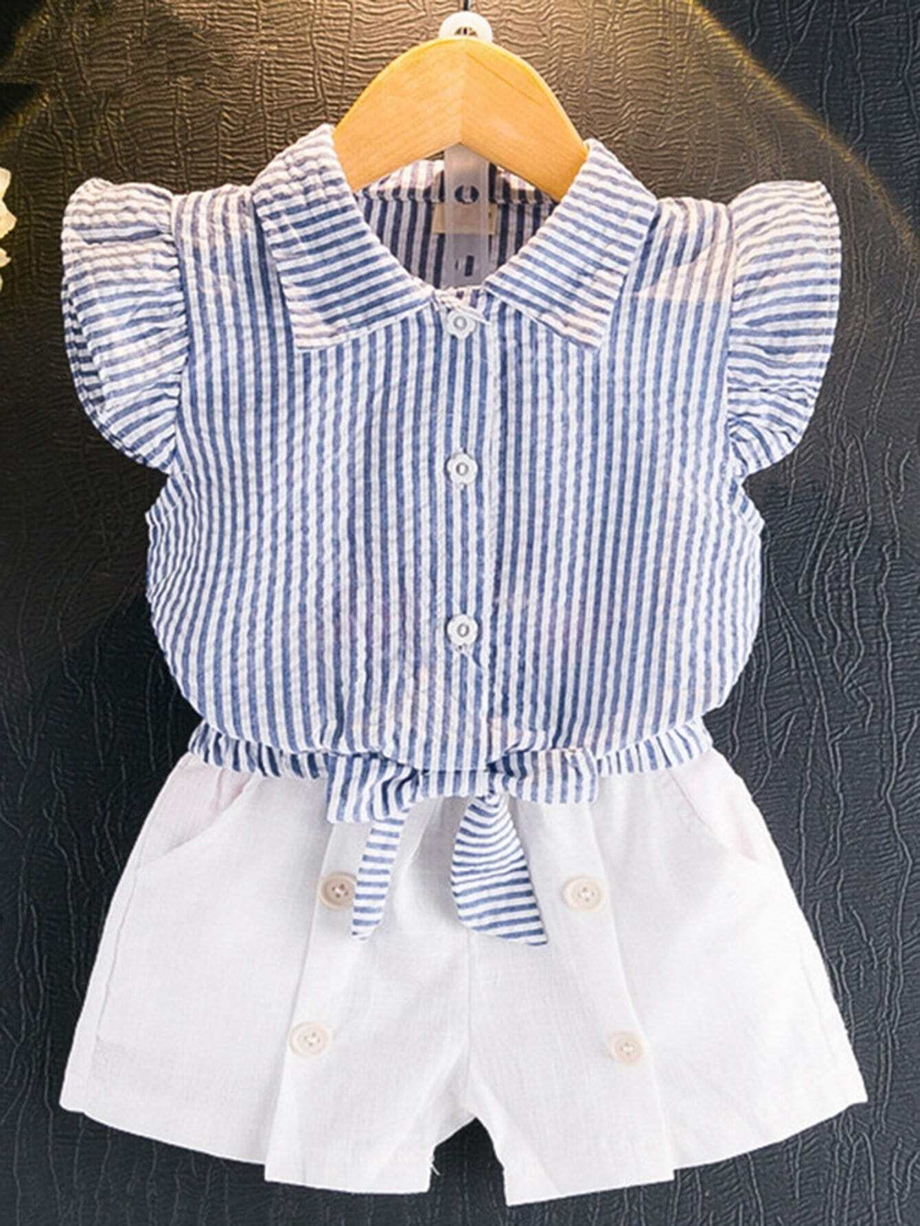 Kids Knot Striped Blouse With Button Decoration Plain Shorts boat neckline striped blouse with buttons