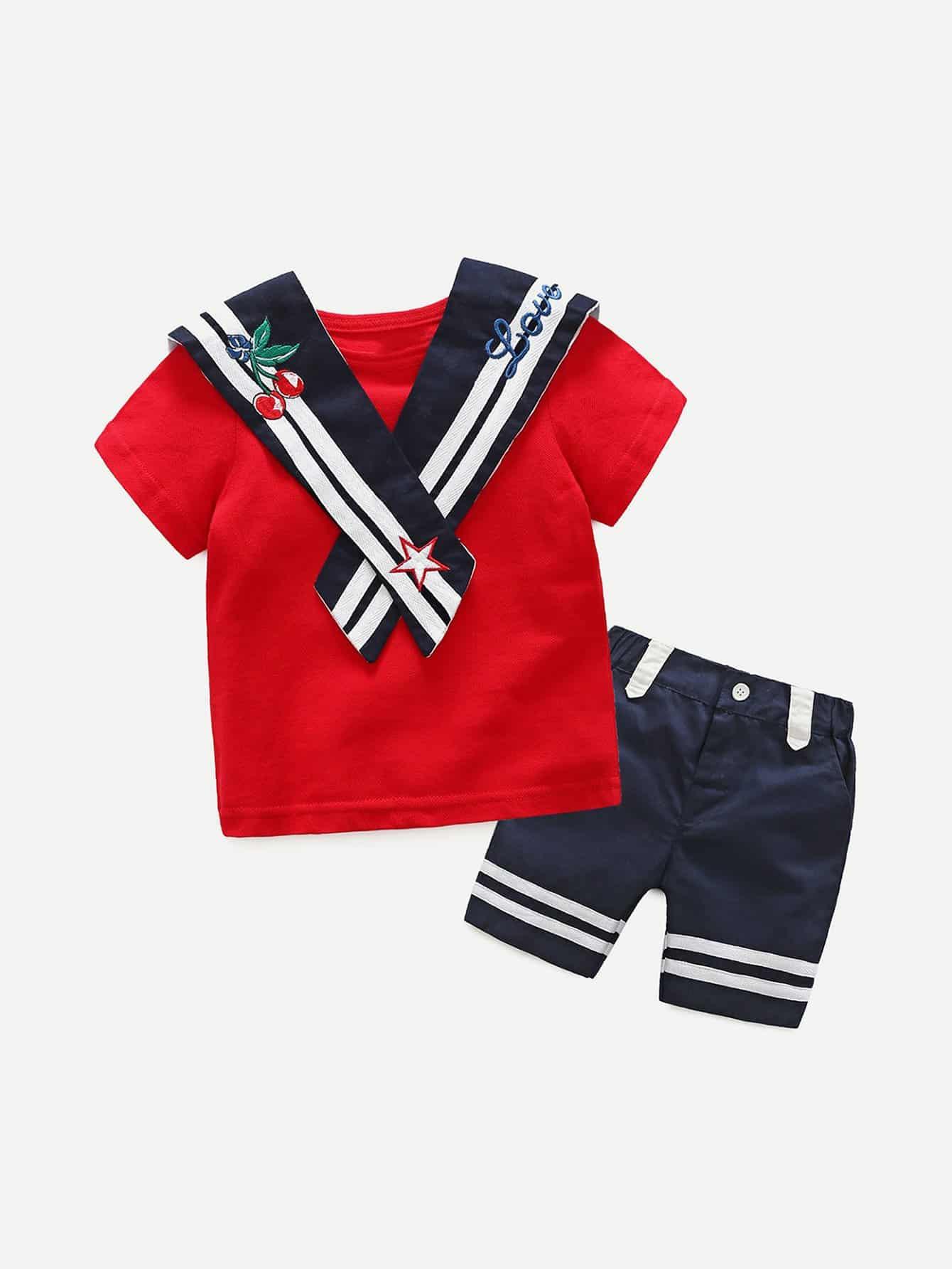 Футболка и шорты с полосками для детей от SheIn